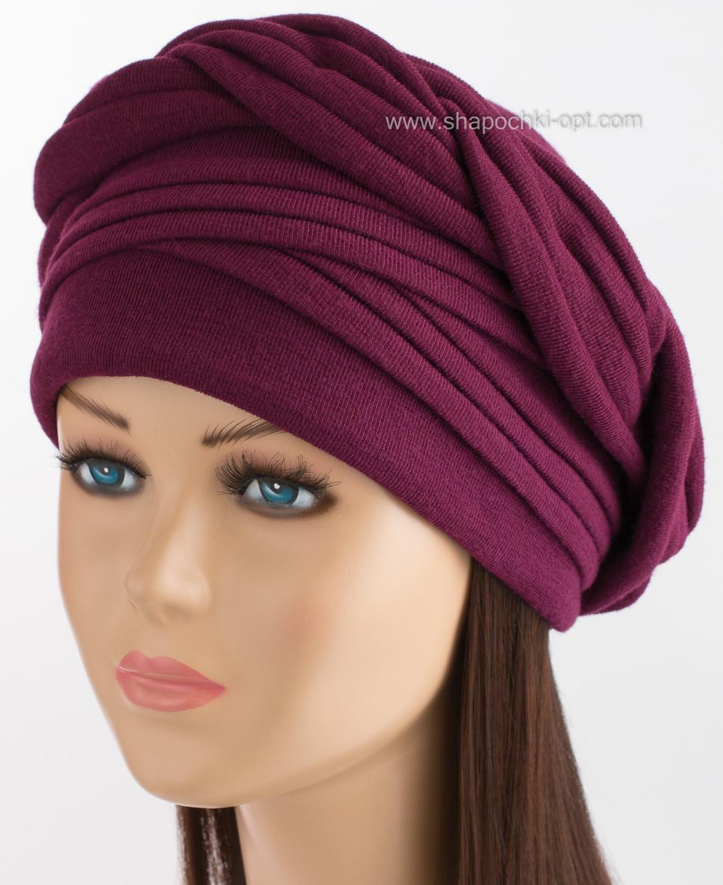 Красивая трикотажная шапка Ника бордо