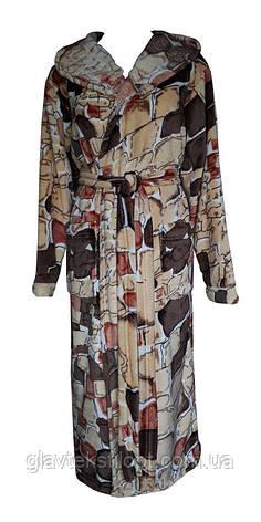 Жіночий махровий халат з капюшоном, фото 2