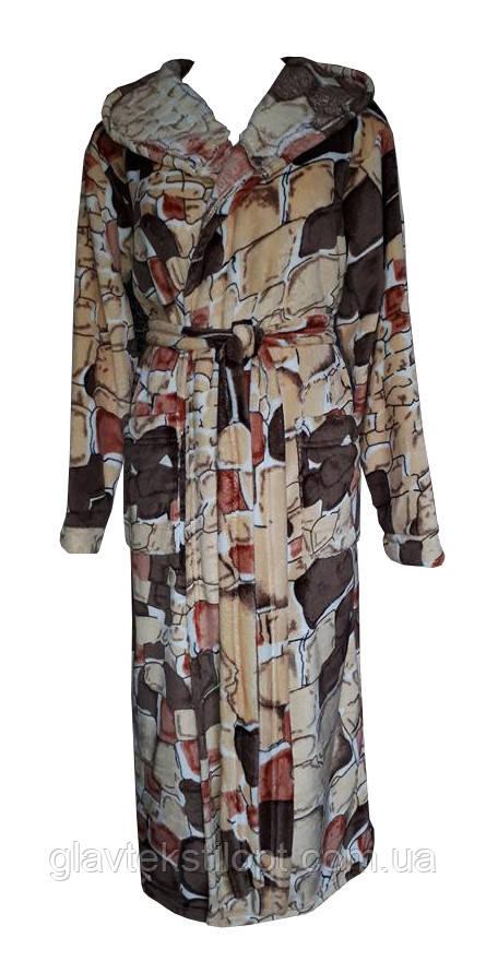 Жіночий махровий халат з капюшоном