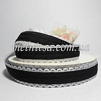Лента декоративная с кружевным краем,  2 см, цвет черный