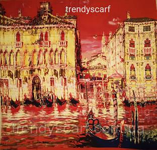 Женский Платок Картина Город Венеция. Красный жолтый коричневый синий. Кашемир.130\130