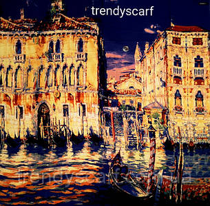 Женский Платок Картина Город Венеция. Синий електрик жолтый коричневый красный. Кашемир.130\130