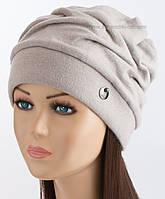 Женская демисезонная шапочка Беатрис плюс с ангорой светло-серая