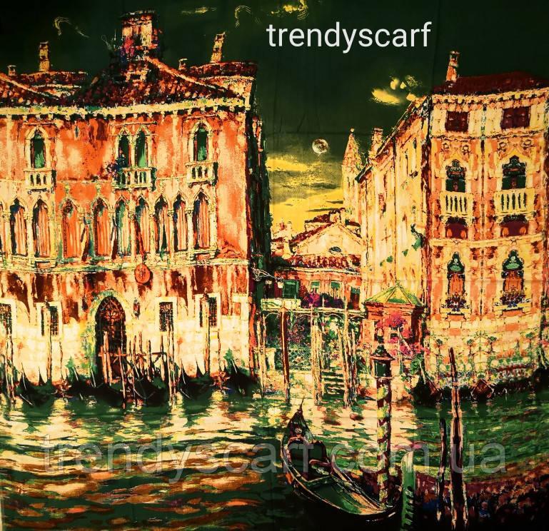 Женский Платок Картина Город Венеция. Зеленый розовый оранжевый жолтый коричневый красный. Кашемир.130\130