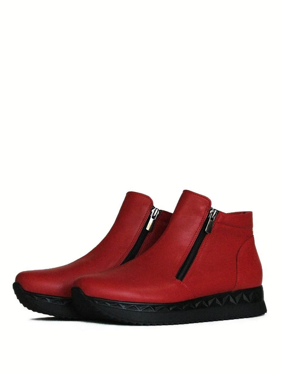 Ботинки красные кожаные на молниях