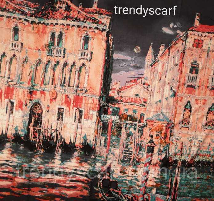 Женский Платок Картина Город Венеция. Серый розовый бирюза  коричневый красный. Кашемир.130\130
