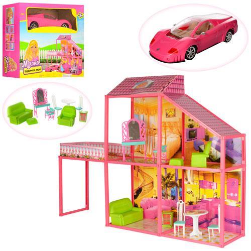 Домик 6981 для кукол с мебелью двухэтажный, 4 комната, машина для куклы