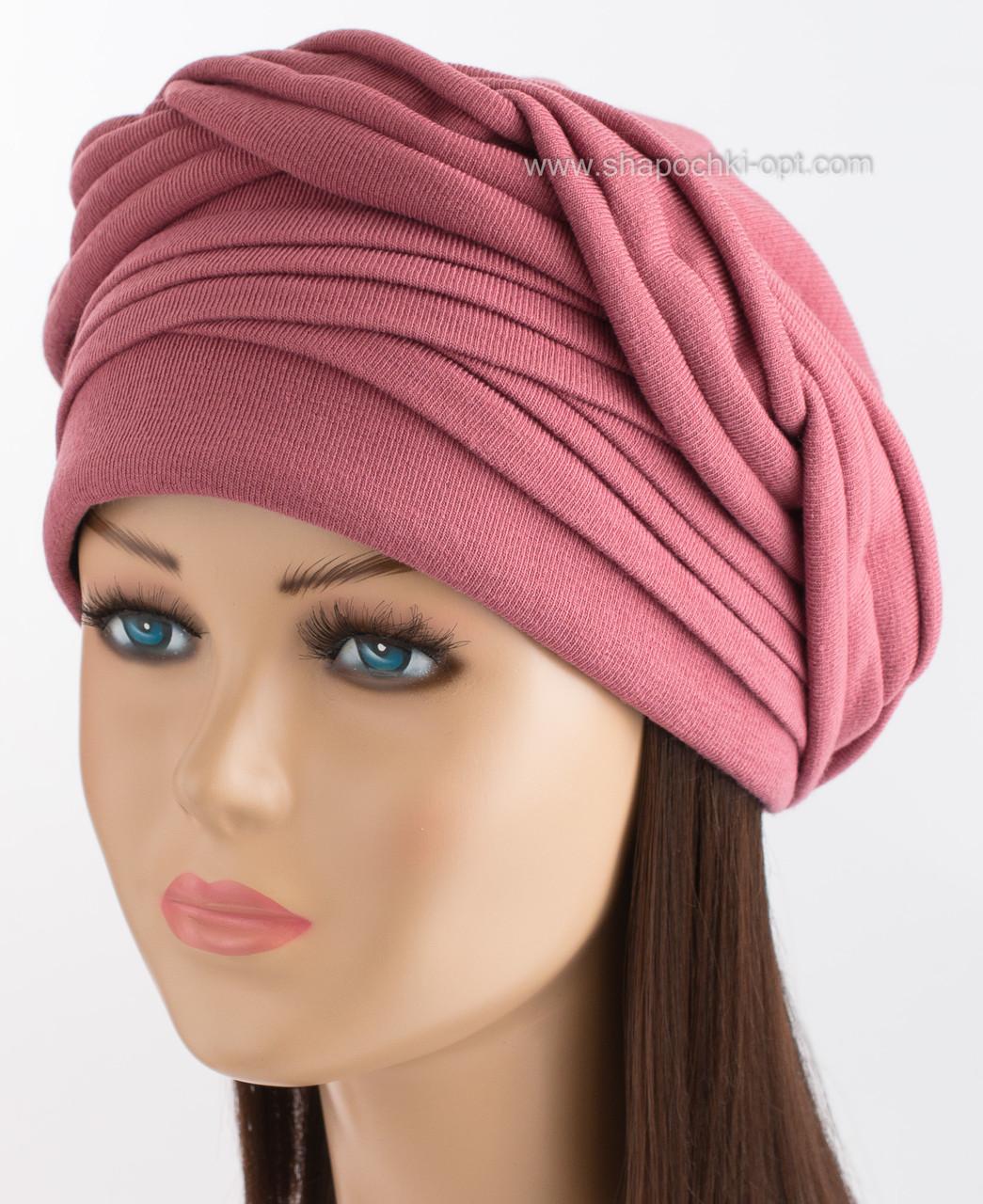 Демисезонная трикотажная шапка Ника цвет нектарин