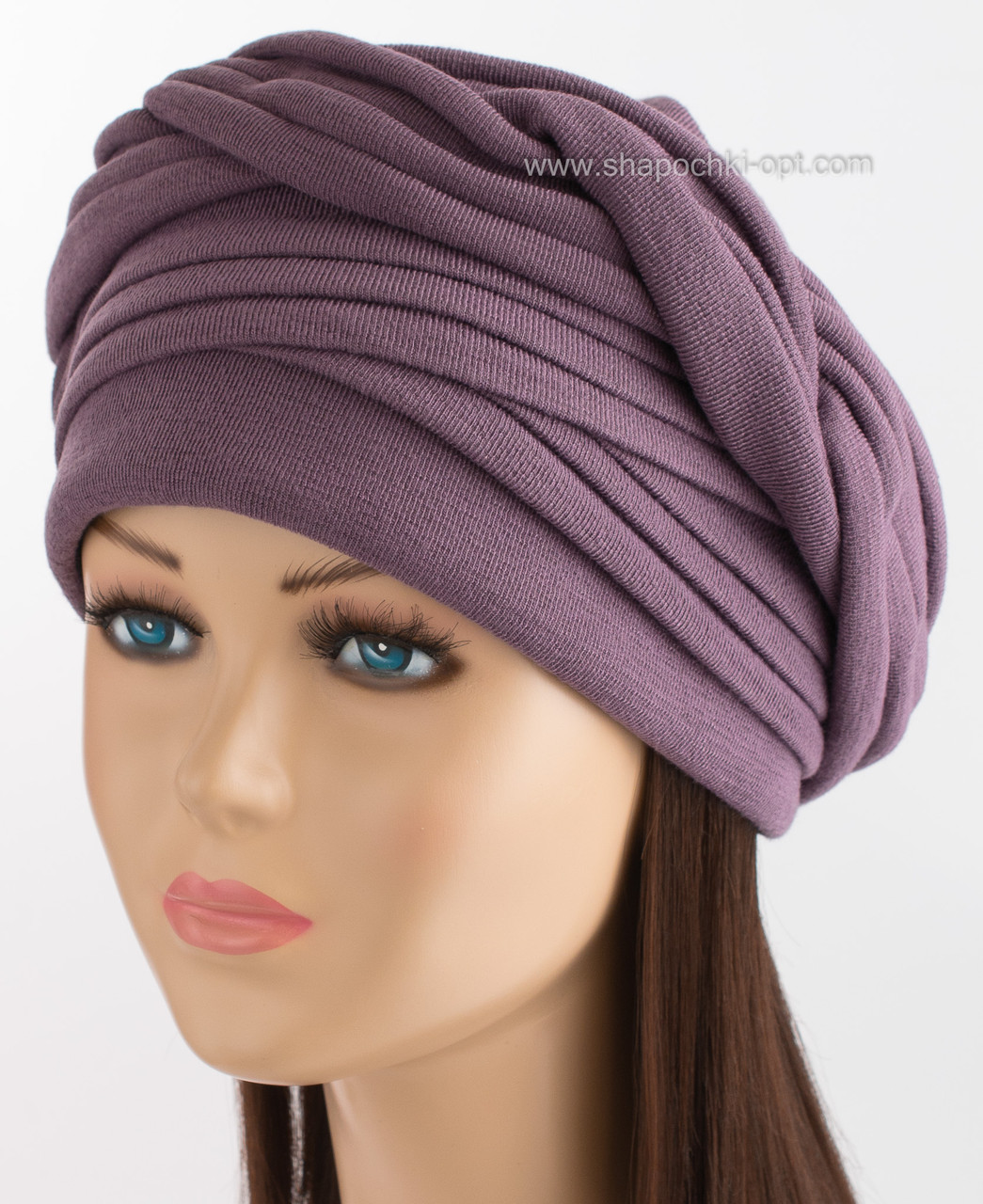 Женская шапочка из трикотажа Ника темно-лиловая