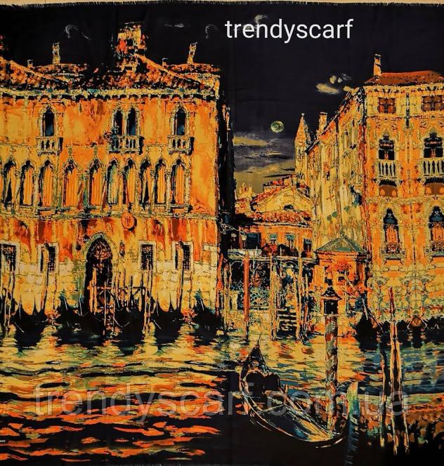 Женский Платок Картина Город Венеция. Темно синий жолтый оранжевый коричневый. Кашемир.130\130