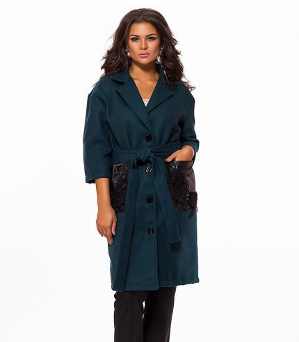 Кашемировое пальто большого размера на пуговицах 823472