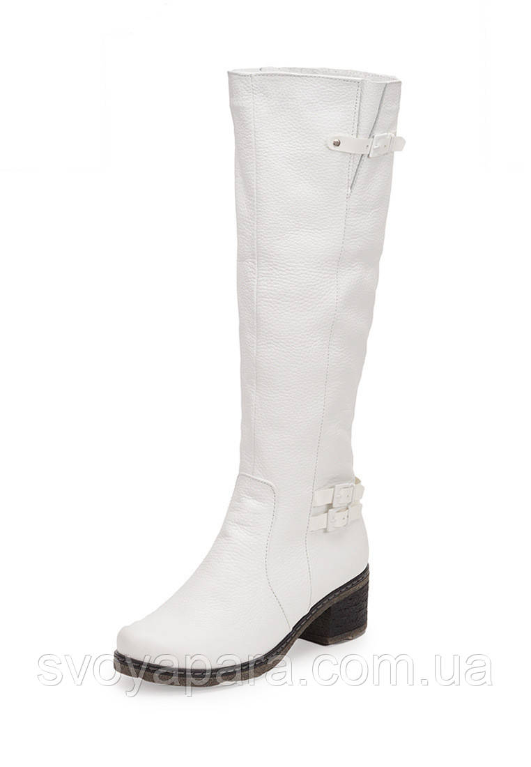 Женские зимние сапоги белые кожаные (100121)