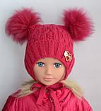 Зимняя шапочка для девочки с двумя пушистыми помпонами Красный, фото 2