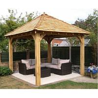 """Беседка конструктор """"Альтанка 7"""" из деревянного бруса прямоугольная от производителя для сада, дома."""