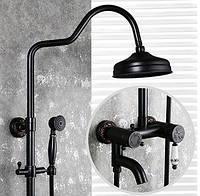 Душевая стойка черная со смесителем лейкой и тропическим душем 0619, фото 1