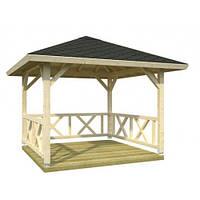"""Беседка конструктор """"Альтанка 4"""" из деревянного бруса прямоугольная от производителя для сада, дома."""