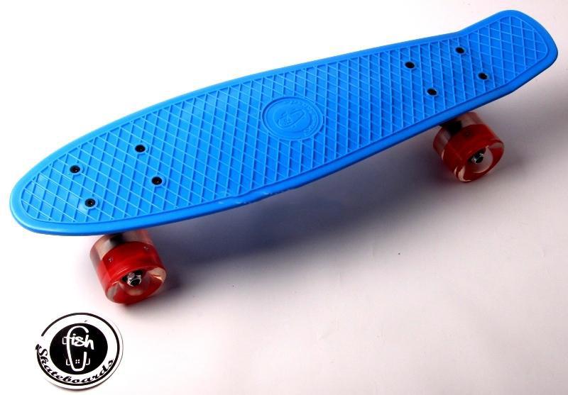 """Penny Board """"Fish"""" Синий цвет Светящиеся колеса Гарантия качества Быстрая доставка"""
