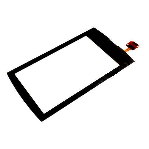 Сенсорный экран (тачскрин) Nokia 600 Asha с рамкой чёрный ориг. к-во