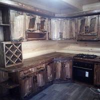 """Кухня """"Под старину 2"""" с коваными элементами, натуральное дерево, столешница массив. Кухня под заказ"""