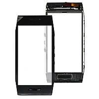 Сенсорный экран (тачскрин) Nokia X7-00 с рамкой, чёрный ориг. к-во