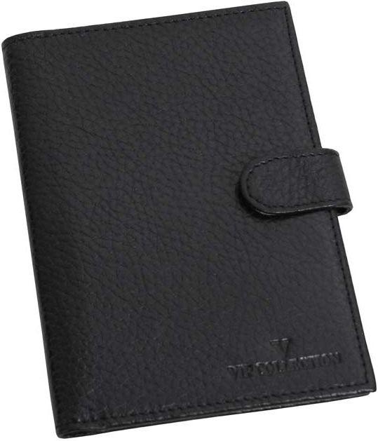 Шкіряна обкладинка VIP COLLECTION 104.A.FLAT чорна, для паспорта