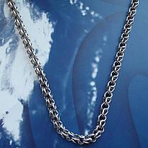 Серебряная цепочка, 650мм, 44 грамма, плетение круглый Бисмарк, фото 3