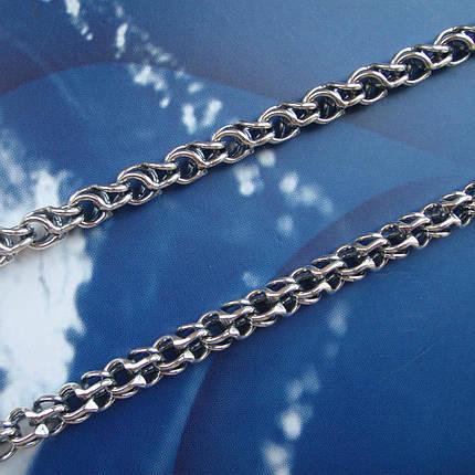 Серебряная цепочка, 650мм, 44 грамма, плетение круглый Бисмарк, фото 2
