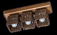 Дерев'яна стельова люстра з 3 плафонами