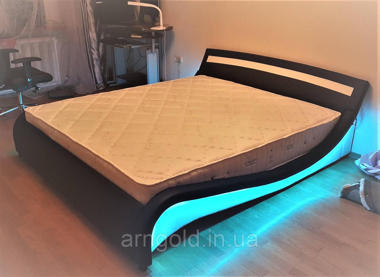 Кожаная кровать 180х200см с LED подсветкой Германия