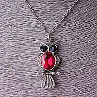 Кулон Сова с цепочкой цвет красный, австрийский кристалл, размер кулона 4*2 см
