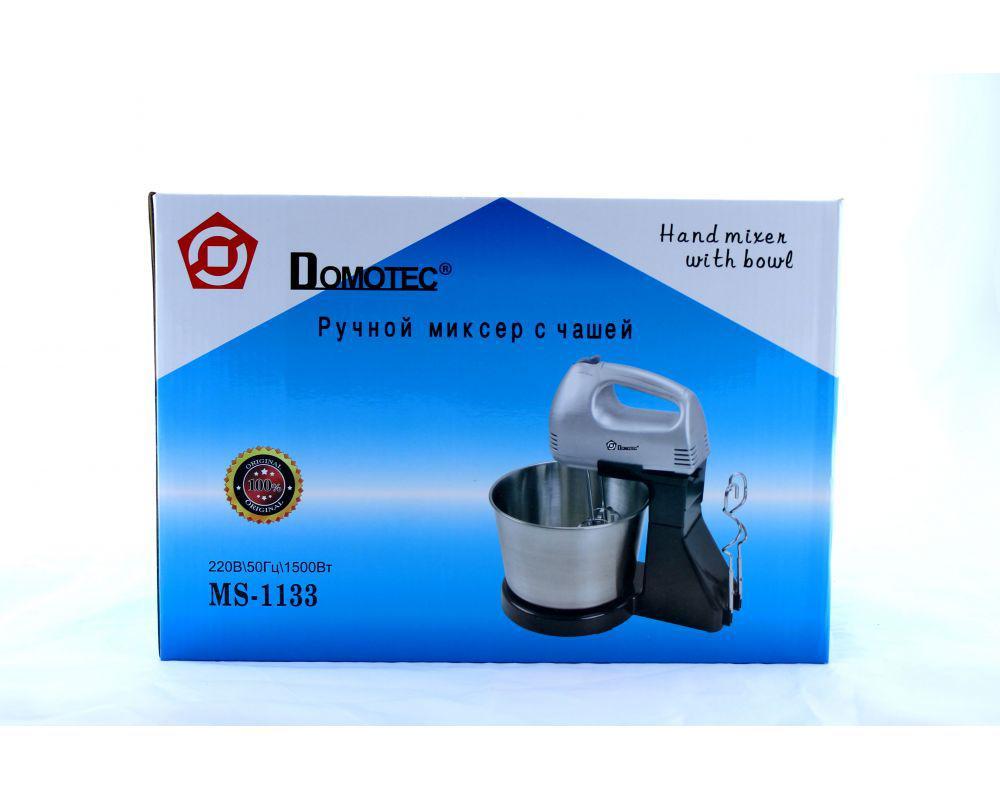 Ручной миксер с чашей DOMOTEC MS-1133 U-металл для взбивания и замешивания