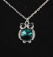 Кулон Сова с цепочкой цвет зеленый, австрийский кристалл, размер кулона 2,5*2,5 см