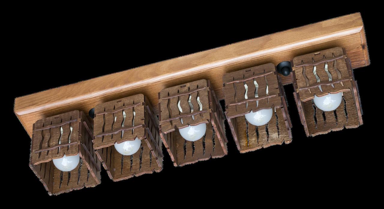 Деревянная потолочная люстра с 4 плафонами