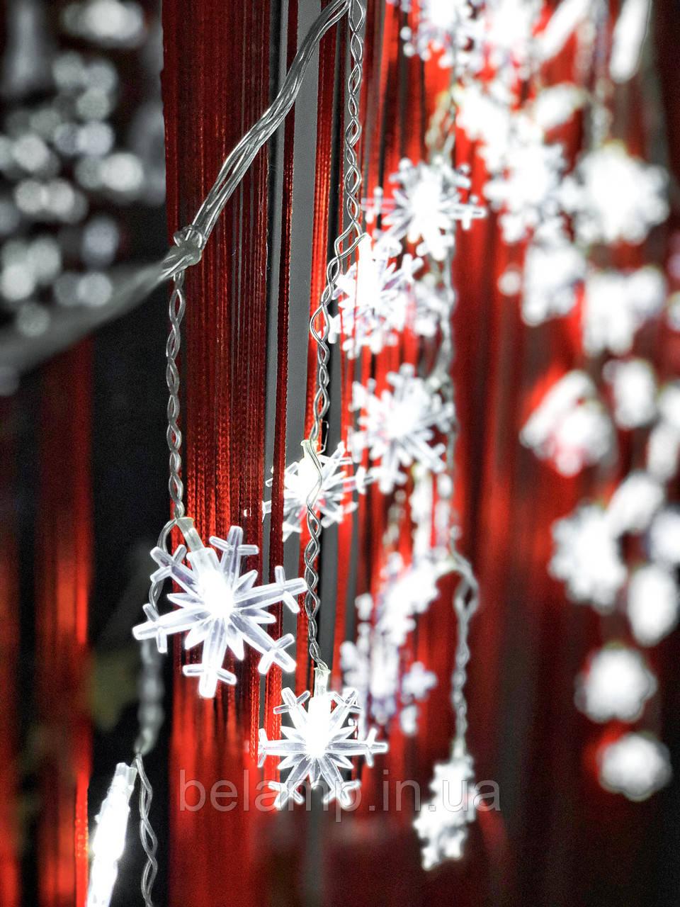 """Новогодняя гирлянда штора-бахрома на окно  «Яркие снежинки"""""""