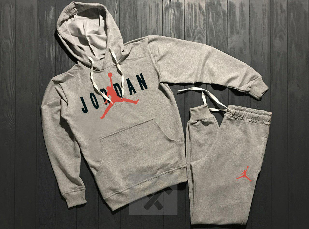 Спортивный костюм Nike Jordan серый топ реплика