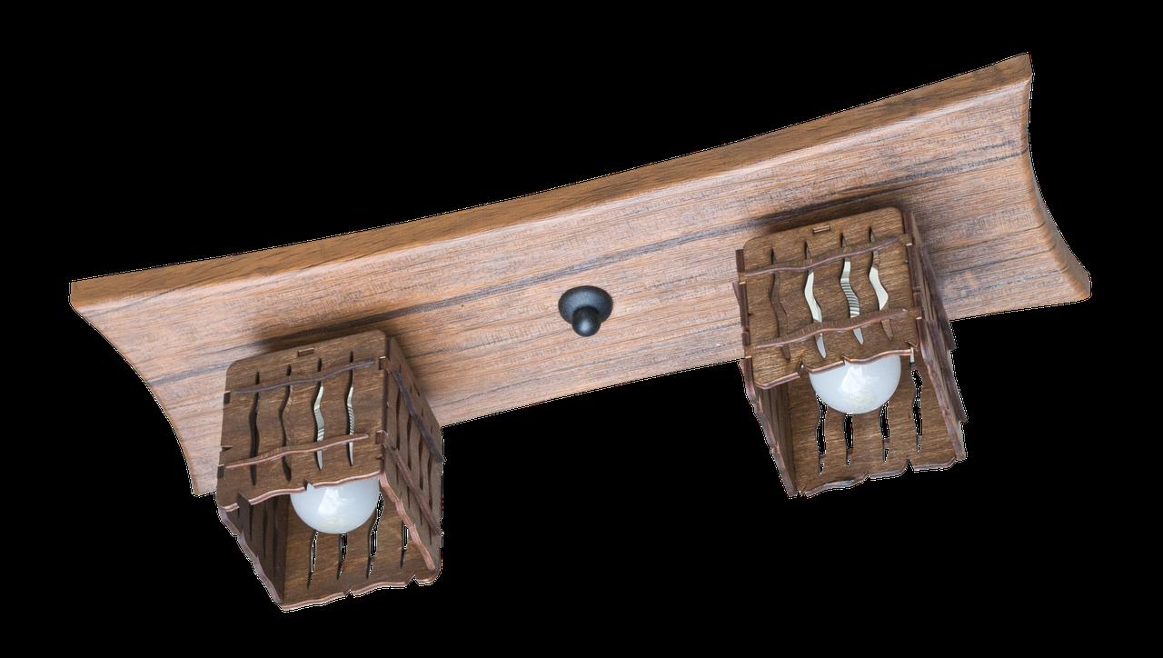 Деревянная потолочная люстра с 1 плафоном