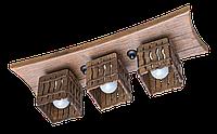 Деревянная потолочная люстра с 3 плафонами