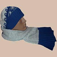 Мужская вязаная шапка-носок,  шарф-петля  c норвежскими орнаментами