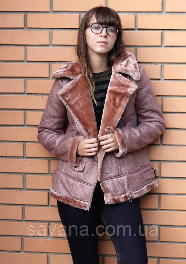 Женская куртка из эко кожи на меху в расцветках. БР-1-0918