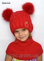 Теплая зимняя шапка для девочки на завязках, фото 1