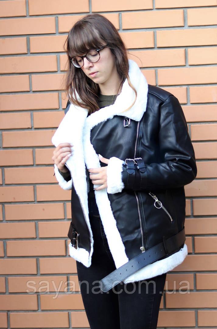 Женская куртка из эко кожи на меху с поясом. БР-3-0918