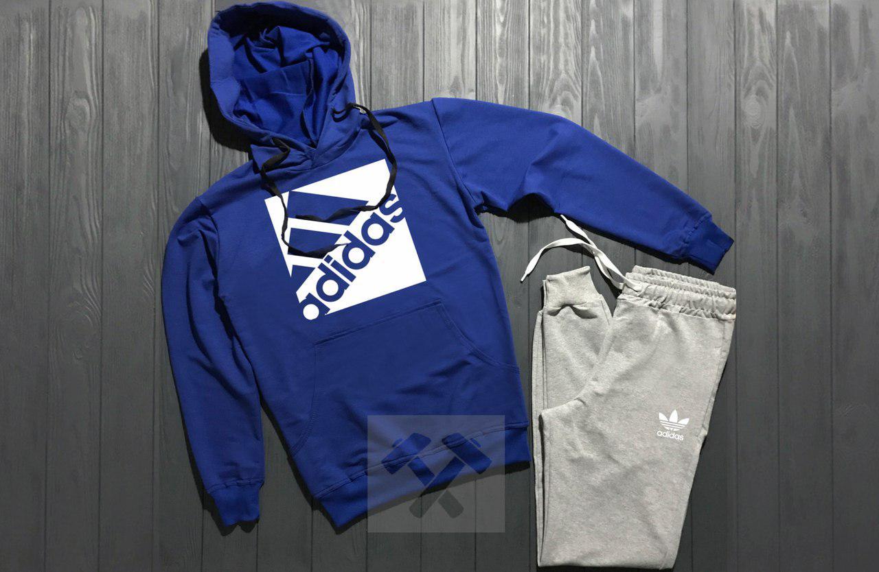 Спортивный костюм Adidas сине-серый топ реплика