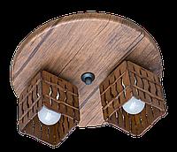 Деревянная потолочная люстра с 2 плафонами