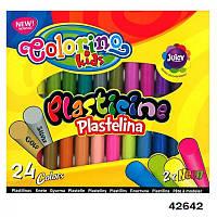 Пластилин круглый набор 24 цвета, + 2 неоновых цвета, а также золото и серебро, Colorino