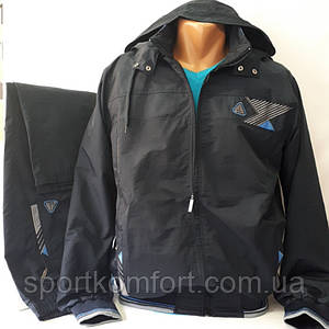 Турецкий прогулочный спортивный костюм Соккер из плащевой ткани, тёмно-синий.
