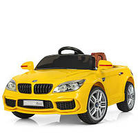 Детский электромобиль BMW КХ1337-2 Премиум, резина, кожа, ключ зажигания, жёлтый, дитячий електромобіль