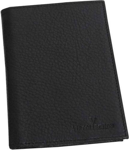 Портмоне-обложка для паспорта из кожи VIP COLLECTION арт. 19A flat черная