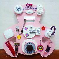 """Доска для развития """"Бизиборд Мишка"""" 40*40 см подарок для девочки, розовый"""