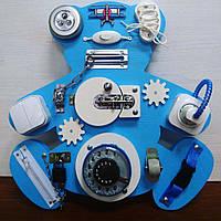 """Доска для развития """"Бизиборд Мишка"""" 40*40 см подарок для мальчика, цвет голубой"""