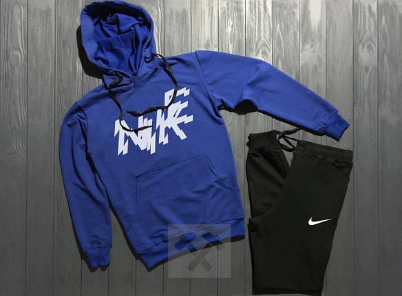 Спортивный костюм Nike сине-черный топ реплика, фото 2